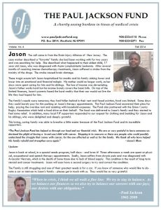 2014 Paul Jackson Fund Newsletter