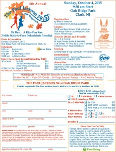 Paul Jackson Fund 5K 2015 Registration Form